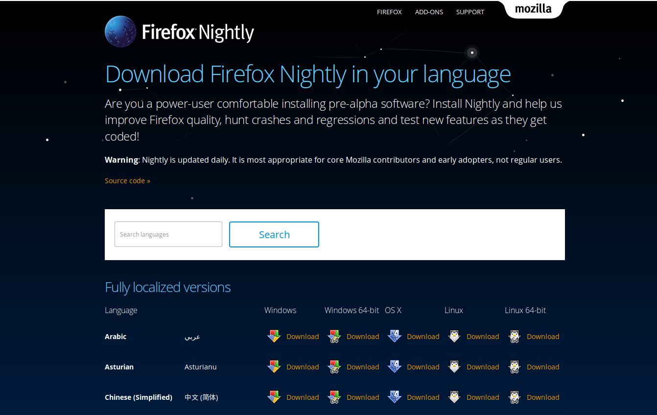Nightly multilocale download page