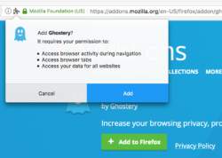 The WebExtension permission dialog for Ghostery, asking the user if the add-on can access browser activity during navigation, browser tabs, and browsing history