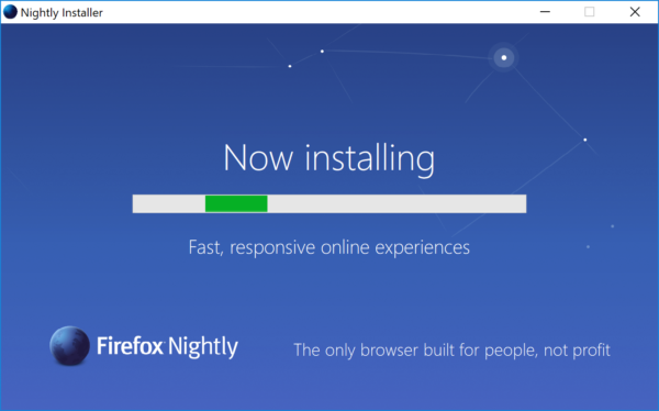 A screenshot of the new stub installer on Windows.
