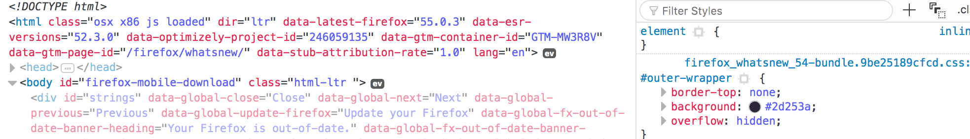 Firefox's current syntax highlighting