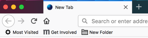 Showing the new folder icons in the bookmarks toolbar.