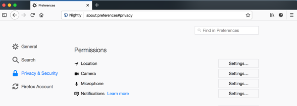 Showing the DOM permissions UI under about:preferences.