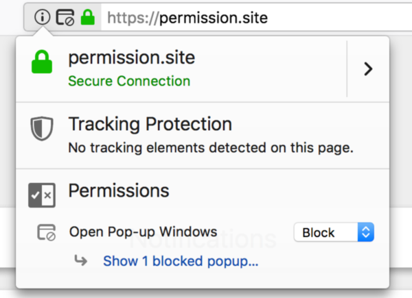 Showing the identity panel in Firefox with controls for blocking popups.