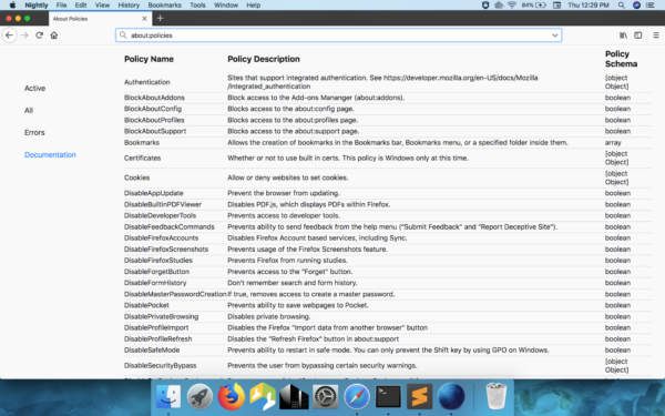 Screenshot of new about:policies view showing policies table