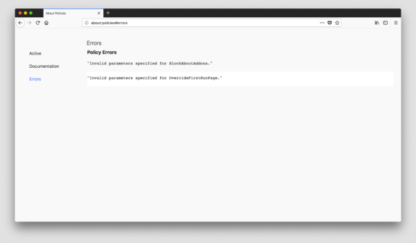 Showing the error interface in about:policies, with some example errors in it.