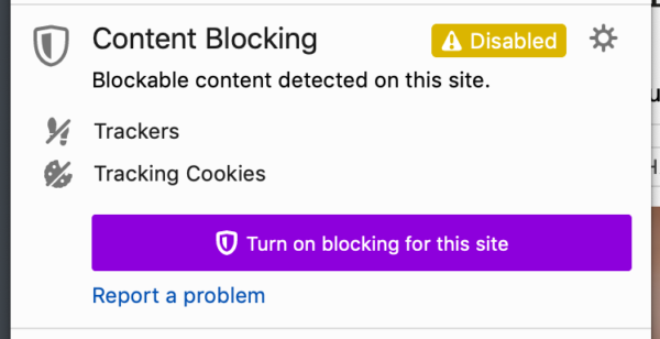 "Showing the Identity panel in Firefox, where the ""Turn on blocking for this site"" has had its style changed to more closely match the styles used in Private Browsing mode."