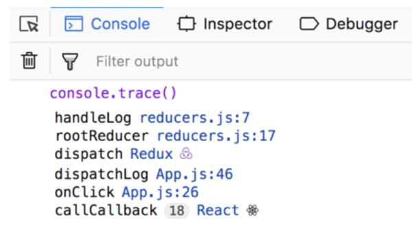 Showing a stack trace in the browser console triggered by console.trace(). The individual parts of the stack are links that can send you to the debugger.