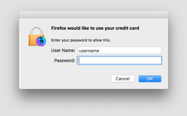 Showing a dialog in macOS that's asking for a username and password so that Firefox can access credit card storage.