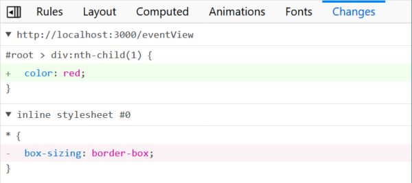 Showing a diff-like display of what CSS has been changed since the page loaded.