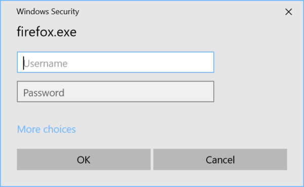 Showing a Windows Security dialog asking for a username and password so that firefox.exe can access secure storage.