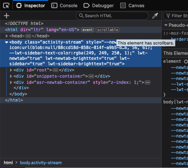 "A screenshot of the DevTools inspector showing that the <body> element on a page has a ""scrollable"" tag on it to indicate that it can be scrolled."