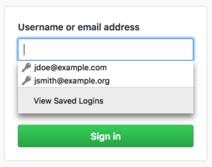 "A ""View Saved Logins"" option now appears at the bottom of the login autocomplete list."