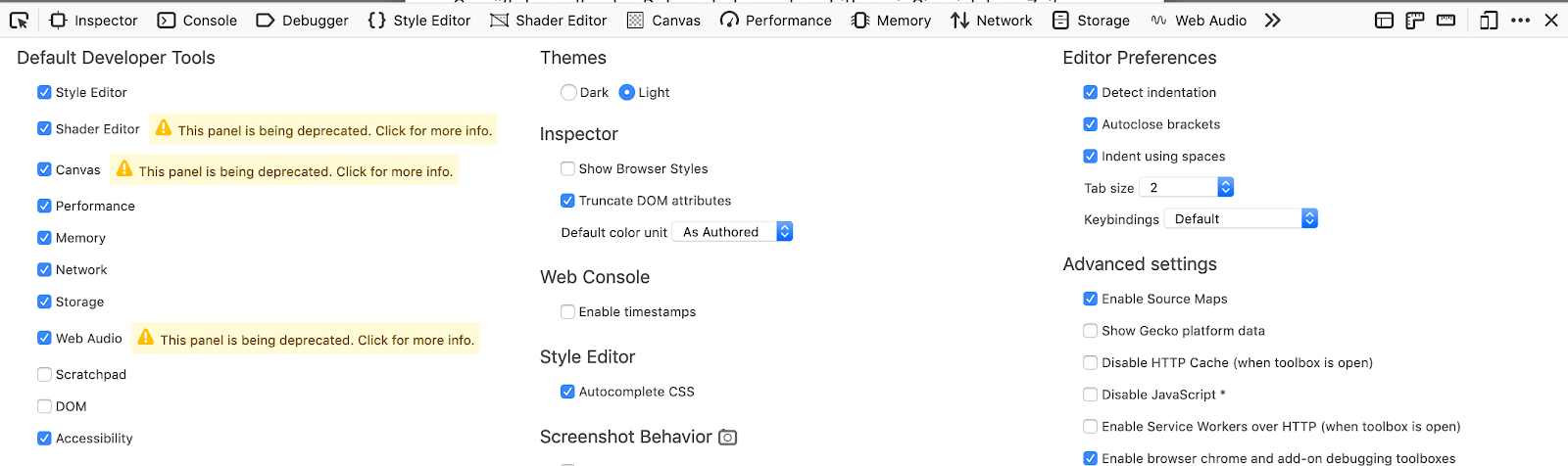 Warnings being displayed next to various panel toggles in the DevTools Settings panel, letting users know that these panels are deprecated.