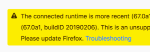A warning is now displayed when DevTools is remotely connected to a Firefox that has a different version number.
