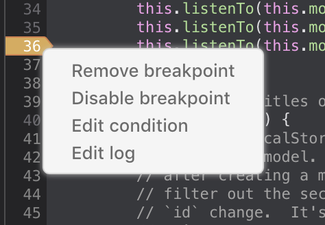Screenshot of debugger with context menu for logpoints
