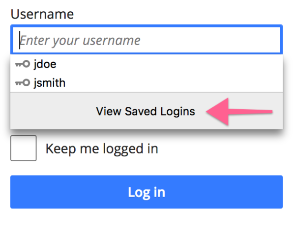 "Screenshot of ""View Saved Logins"" button in autocomplete suggestion list"