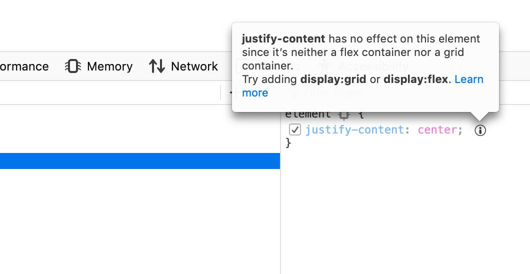 A tooltip in the CSS property inspector explains that a justify-content property doesn't apply to a non-flex element.