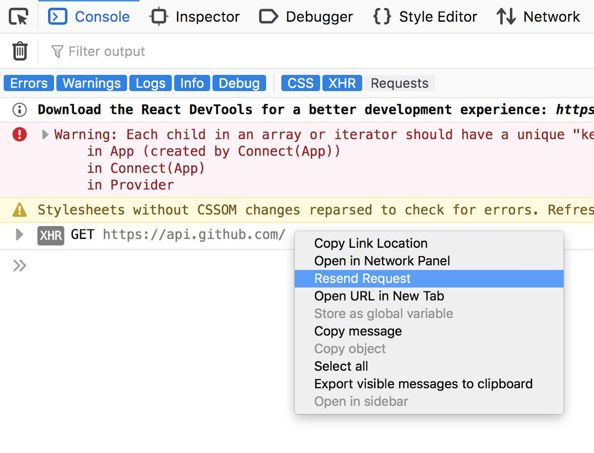 "Screenshot of the context menu in the Web Console, showing the new ""Resend request"" feature for network requests."