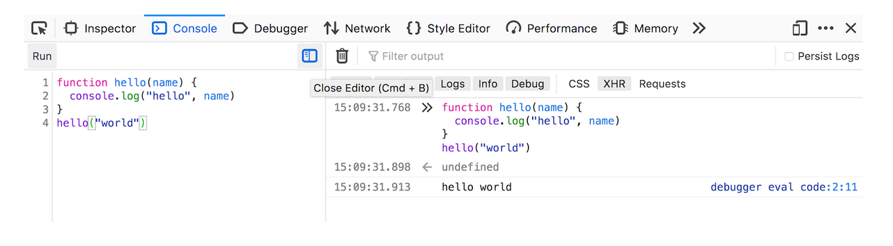 The Web Console showing a split pane between an editor and the output. A simple Hello World block of JavaScript is being executed in the console.