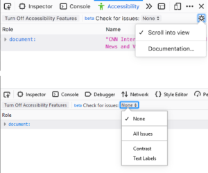 "Screenshot showing a new ""Scroll into view"" option in the settings context menu of the Acccessibility Panel of the Devtools."