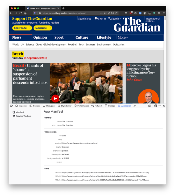 The work-in-progress Manifest Viewer is showing manifest information for theguardian.com.