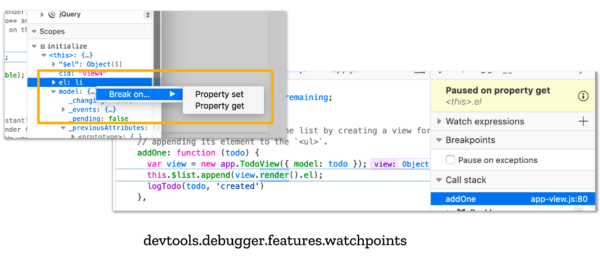 Screenshot of debugger with new menu options to break on property gets and sets