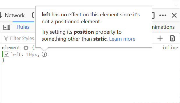 Screenshot of the warning displayed for an inactive CSS property on an element