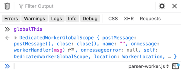 A dropdown at the bottom of the Browser Toolbox console displays a dropdown that lets the user choose which context to run JavaScript in. parser-worker.js is currently selected.
