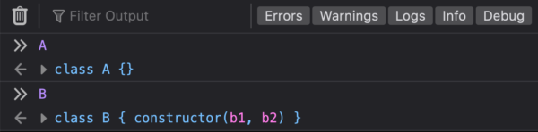 "The DevTools Console showing ES6 classes named ""A"" and ""B"" being logged to the console as classes."