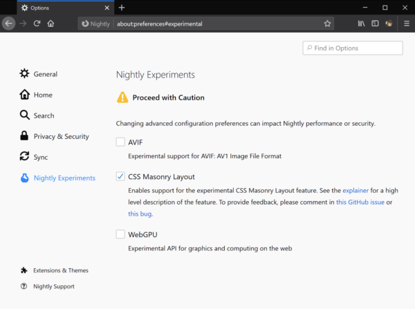 The Nightly Experiments pane in about:preferences showing several experiments that users can toggle.
