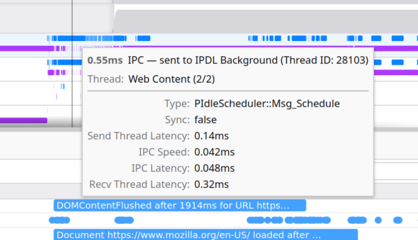 A popup when hovering an IPC marker shows information about the IPC message, including the kind of message, whether it was synchronous, latency when sending to the messaging thread, IPC speed and latency, and receiving thread latency.
