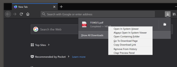 "The context menu for an item in the Downloads Panel showing ""Open in system viewer"" and ""Always open in system viewer"" as the top two menu items."