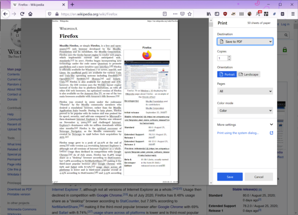 A screenshot of the new printing dialog in Firefox. A pane on the left shows a render of how Firefox's Wikipedia page will appear on a printed page. Many printing options appear to the right, including the printer destination, number of copies, and whether to print in portrait or landscape.