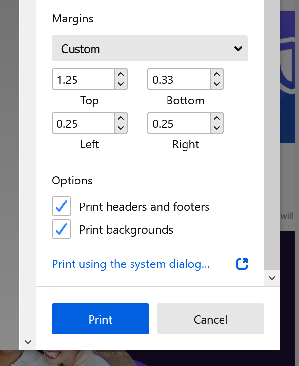 The new printing modal in Firefox Nightly showing the ability to set custom margins around the document.