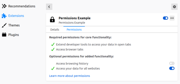 "The options page for an extension is shown. Under the Permissions tab, permissions are grouped into ""required permissions for core functionality"" and ""optional permissions for added functionality"". The optional permissions have an on/off toggle next to them."