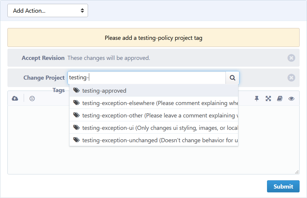 At the bottom of a Phabricator revision page, an add-on has automatically inserted an action to change the project tags. An autocomplete popup shows the various testing flags that can be set, per the new testing policy for mozilla-central.