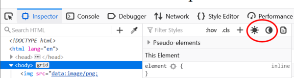 Two new icons in the DevTools inspector sidebar are highlighted. They are of a sun and a moon. They toggle prefers-color-scheme.
