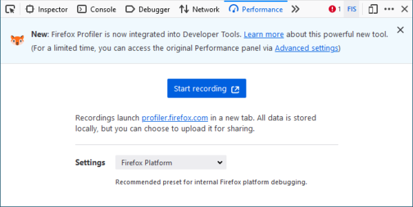 """The new DevTools performance tab. An onboading message notes that """"Firefox Profiler is now integrated into Developer Tools""""."""