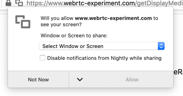 A WebRTC permissions panel asks the user if they want to share their screen. A checkbox underneath asks if Firefox notifications should be disabled.