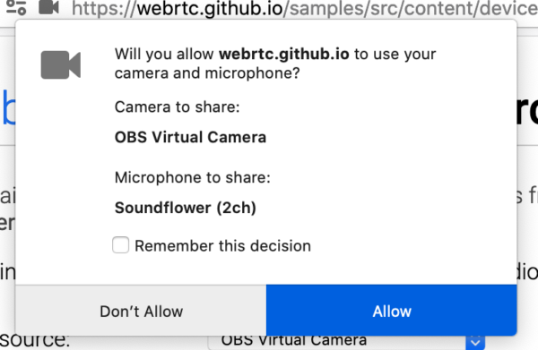 A WebRTC permissions panel where the dropdowns for camera and microphone are replaced with static text.