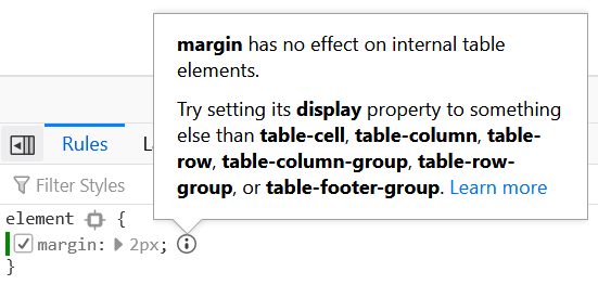 """A panel in DevTools says that """"margin has not effect on internal table elements"""" and offers recommendations on how to fix this."""