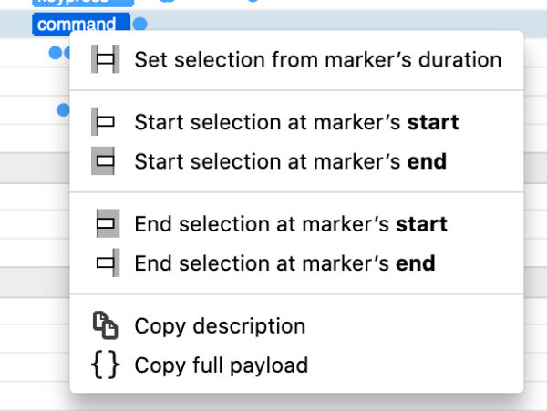 A context menu with several items about setting profiler markers.