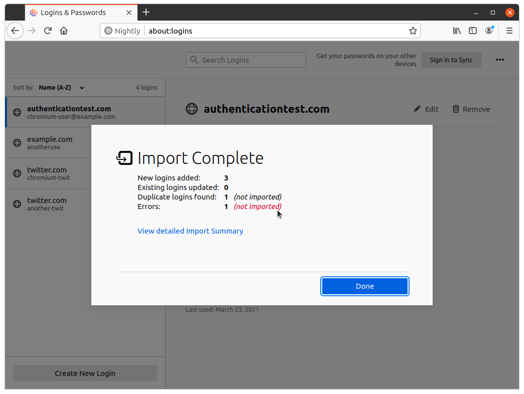 Screenshot of the Import Complete dialog on about:logins: showing 3 logins added, 0 updated, 1 duplicate and 1 error
