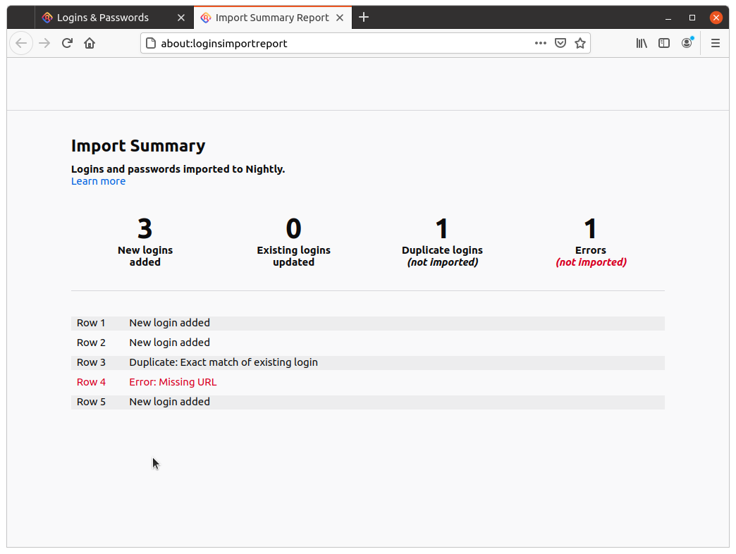 Screenshot of the Import Summary page: showing a count of logins added, updated, duplicated and errors, and a details row by row import result listing