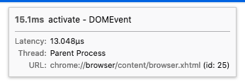 """The marker tooltip in the Firefox Profiler UI showing an """"activate"""" DOM event. After the URL of the document that the event fired on, the string """"(id: 25)"""" is shown."""