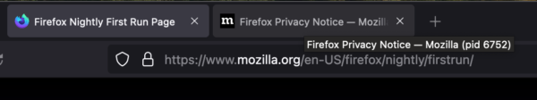 """The Firefox tab strip with the mouse hovered over one tab. A dark tooltip says """"Firefox Privacy Notice - Mozilla (pid 6752)"""""""